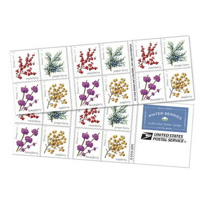 Winter Berry USPS Forever Stamp, 5 Books of 20 Stamps Each, Total 100 Stamps