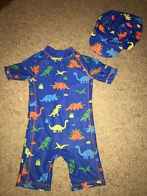 Boys Dinosaur Swimsuit with Matching Sun Hat 3-4 Years