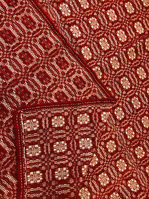 Antique OVERSHOT Coverlet Red Cream 3 Panel Jacquard Hand Loomed CHRISTMAS