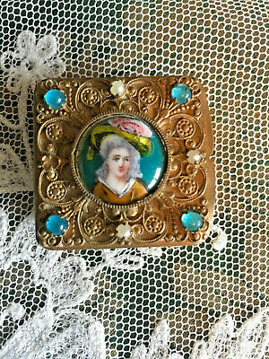 Antique French Pill Patch Box Portait Medallion