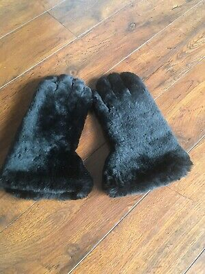 Dents Vintage Ladies Black Leather & Fur Winter Gauntlet Gloves - Size L