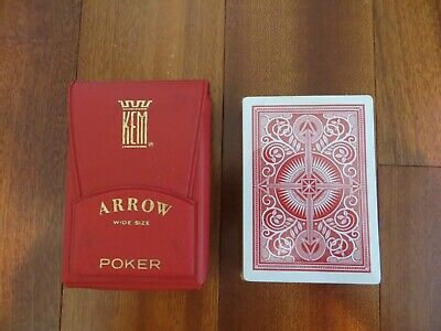Vintage KEM Arrow Poker Playing Cards Wide Size in Red Vinyl case. New. SEALED