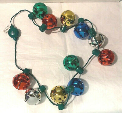 Disney Parks Mickey Mouse Jingle Light Up Bells Christmas Holiday Necklace - New