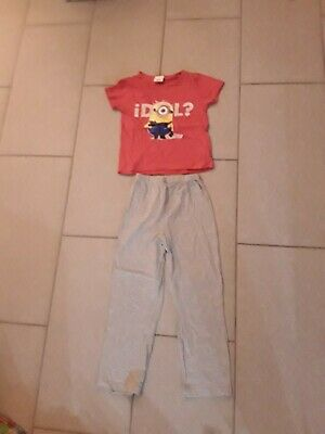 Minions Pink Top With Grey Bottoms Cotton Pyjama Set Age 6-7 Years Girls