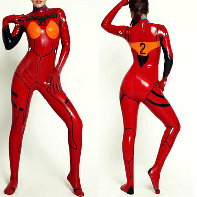 100% Latex Rubber Suit Bodysuit  Red Mix Color Erotic Tigth Sock Suits S-XXL