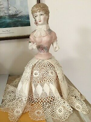 """Porcelain Half Doll """"Adelle"""" approx 13cms tall painted in pale pinkwith decals"""