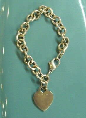 """Tiffany & Co. Heart Tag Charm Bracelet .925 Sterling Silver 7.5"""" Chain Link"""