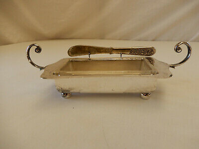 Vintage / Antique EPNS HECKWORTH Silverplate Butter Dish, Glass Insert & Knife