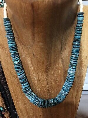 Vintage  NATIVE AMERICAN STERLING SILVER BENCH BEADS NATURAL TURQUOISE Necklace