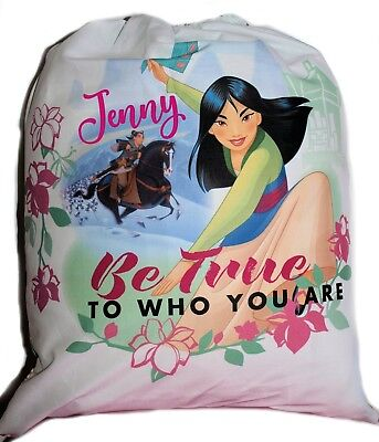 Kids Personalised Drawstring Library Bag - Princess Mulan - First name FREE