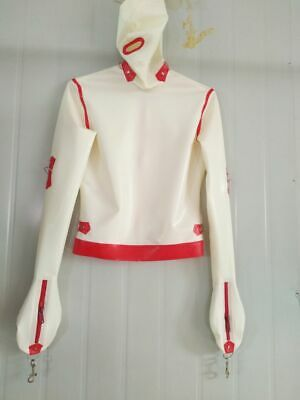 Latex Rubber Suit Bodysuit Party Red with White Cosplay Suits Catsuit Size S-XXL