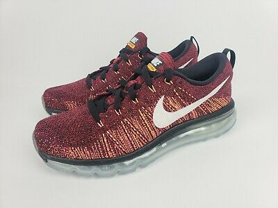 NIKE FLYKNIT AIR Max Men's Running Shoes Black Red Summit