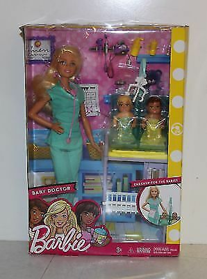New in Box Barbie Careers Baby Doctor Playset w 2 baby patients