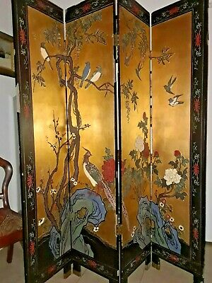 """Antique Hand Painted Oriental Gold & Black Lacquer 4 Panel 72""""x64"""" Room Divider"""