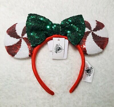 2019 Disney Parks Christmas Holiday Peppermint Ears Headband Mickey Minnie New