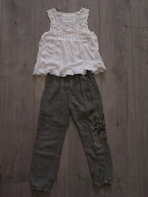 Cute Next Karki Trousers And White Blouse Outfit Age 4-5 Years