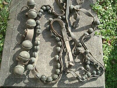 set of Antique Brass one horse Sleigh Bells on Leather Straps
