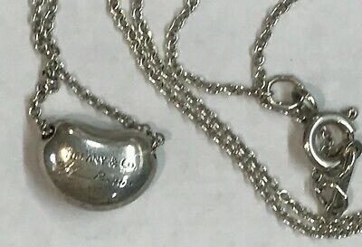 Signed Tiffany Elsa Peretti Sterling Silver Bean Pendant and Chain Necklace