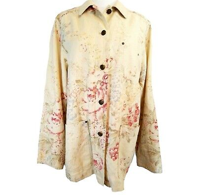 Ralph Lauren Yellow Pink Vintage Roses Linen-Cotton Barn Jacket L