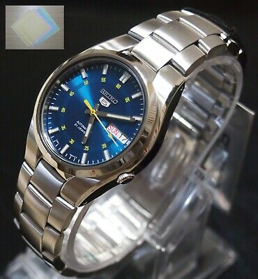 (Gift) + SNK615K1 SEIKO 5 Stainless Steel Band Automatic Men's Blue Watch SNK615