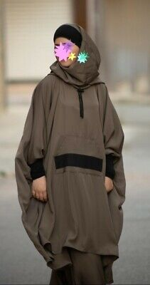 Almoultazimoun Sporty Set With integrated hijab taupe and black