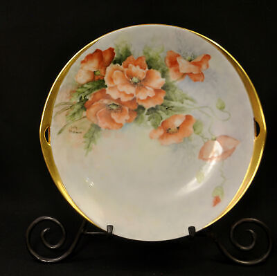 Reticulated 2 Handles Cake Plate Hand Painted Sally Harman Orange Poppies w/Gold