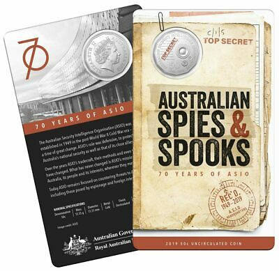 2019 50c UNC *FREE POST* 70th Annivers ASIO RAM Mint Coin Carded SPIES & SPOOKS!