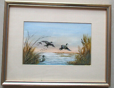 Nice Frank Harding Original Landscape Painting with water birds 20cm x 13cm