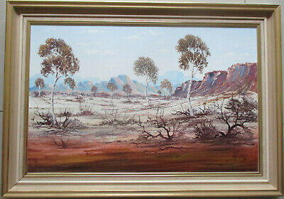 Large Henk Guth Central Australian landscape oil on board 71cm x 46cm