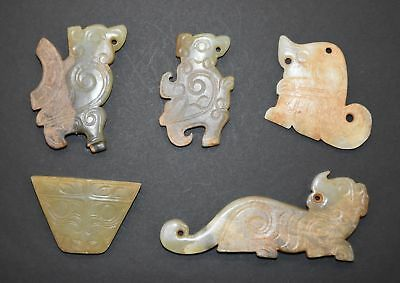 Rare Chinese Zhou Dy Old Nephrite Jade Carved 5 double-faced Small Pei Pendant