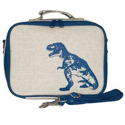 NEW So Young Insulated Lunch Bag Box Raw Linen - Blue Dinosaur