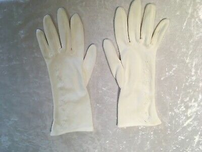 VINTAGE WHITE HONG KONG SIMPLE EMBROIDERED DAY WRIST GLOVES Sz 6 1/2