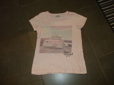 Girls T Shirt By Next Age 10  Pink  Campervan Bon Voyage Motif Non Smoke Cotton