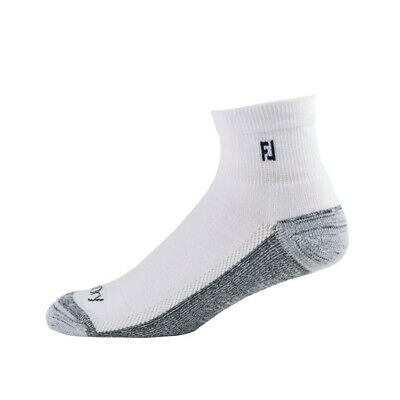 Footjoy ProDry Mens Quarter Socks, White, 6 Pair Pack