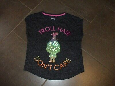 Girls T Shirt By Next Age 10 Dark  Grey Troll Hair Motif Non Smoke Cotton Poly