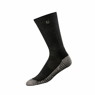 Footjoy ProDry Mens Techsof Tour Crew Socks, Black, 6 Pair Pack