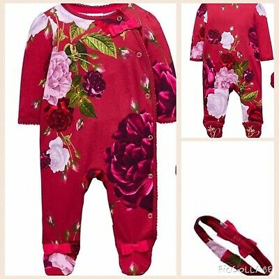 Ted Baker Baby Girls J Rose Floral Sleepsuit & Headband 0-3 BNWT