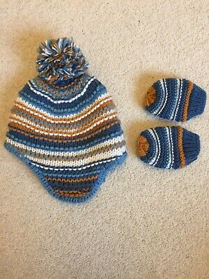 Baby Boys Hat And Mittens 6-12 Months