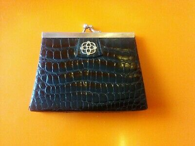 Vintage black 1950s French Leather Coin Purse crocodile embossed pattern