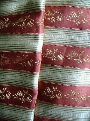 Vintage French Curtain Fabric Regency stripe Upholstery Unused 1950s-2m40Lx1m40W