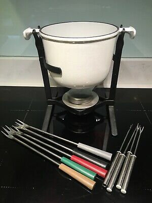 Le Creuset Fondue Set In White Cast Iron With Skewers