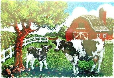 "Latch Hook Rug Canvas Kit A Farmyard Scene ""Contented Cows"""