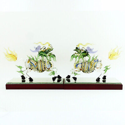 Pair of Glass KIRIN Oriental Chinese Ornaments Lucky Creature