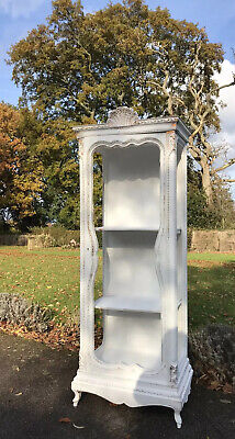 Stunning Painted French Louis Style Armoire / Cupboard White Washed Antique Gold