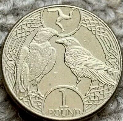 Isle Of Man 2017 Raven and Falcon IOM £1 One Pound  Coin - circulated Coin