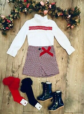 Girls Spanish Red Check  Shorts With Matching  Top Ideal For Christmas