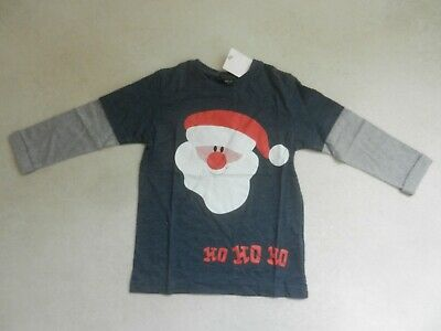 BNWT Next Boys Blue Santa Father Christmas Long Sleeved Top T-Shirt Age 3 Years
