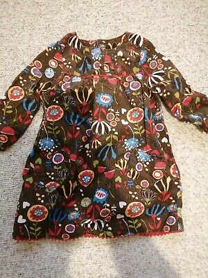 M&S Marks & Spencer Girls Retro Dress 9-12 Months. Brown Cord with Flowers