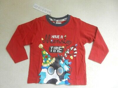 BNWT M&S Boys Christmas Tree Monster Red Long Sleeved Top Age 2-3 Years