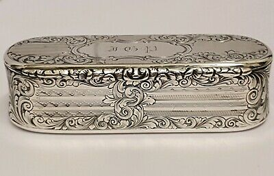 Superb Victorian Antique Solid Silver Snuff Box  Nathaniel Mills 1847